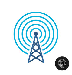 Radio or television tower color icon thin line vector
