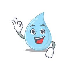 Raindrop mascot design style with an okay gesture vector