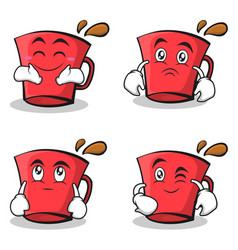 Red glass character cartoon set collection vector