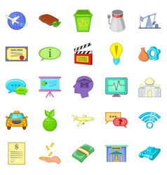 remuneration icons set cartoon style vector image