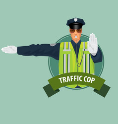 Round icon with officer of traffic police vector