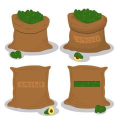 Sacks with natural food vector