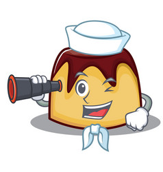 Sailor with binocular pudding character cartoon vector
