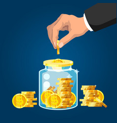 save money businessman hand putting golden coin vector image