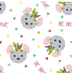 Seamless pattern tribal mouse vector