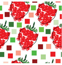 seamless pattern with strawberries and squares vector image