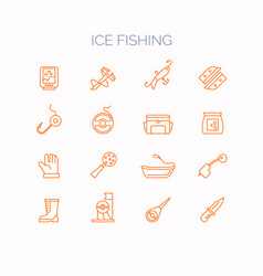 Set of linear icons for ice fishing vector