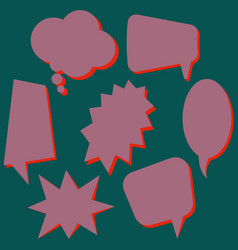 set of purple speech bubbles vector image