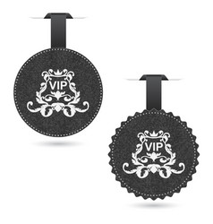 set of two elegant gray vip dice with white vector image