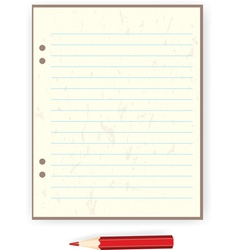 sheet of paper and a red pencil vector image