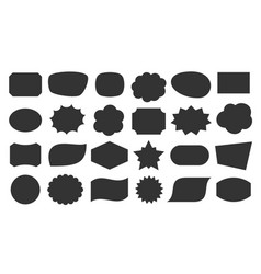 speech bubble shapes tag black sticker icon set vector image