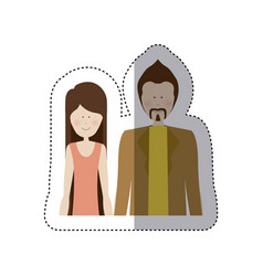 Sticker color silhouette half body with woman in vector