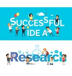 Successful Idea Research Banner Flat Design vector image