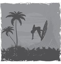 summer grunge background with surfer vector image
