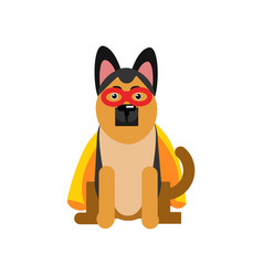 Superhero dog sheepdog wearing an orange cape vector