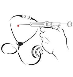 Syringe in hand and a drop blood vector