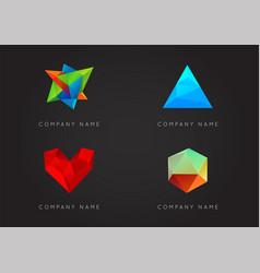 trendy crystal triangulated gem logo elements vector image
