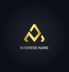 triangle line abstract gold logo vector image