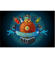 video game sign royal magic emblem for vector image
