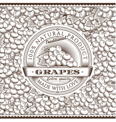 Vintage grapes label on seamless pattern vector