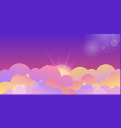 Violet sunset sky and color clouds vector