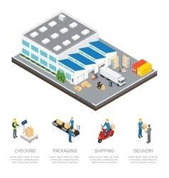 Warehouse Isometric Colored Composition vector image