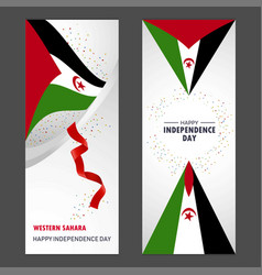 Western sahara happy independence day confetti vector
