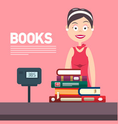 Woman with cash box in bookstore books flat vector