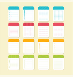 collection of various note papers template vector image vector image