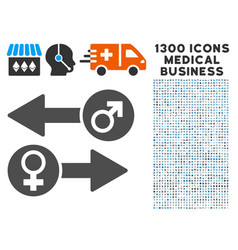 gender exchange icon with 1300 medical business vector image vector image