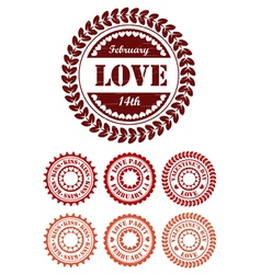 Red vintage stamps for Valentine day vector image