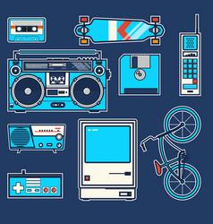 Retro elements bicycle phonecomputer diskette vector