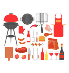 set of barbecue grilled food vector image vector image