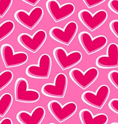 Pink hearts in a seamless pattern vector image vector image