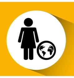 silhouette girl globe media icon vector image vector image