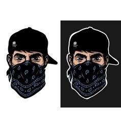 A guy in a baseball cap and bandana vector image