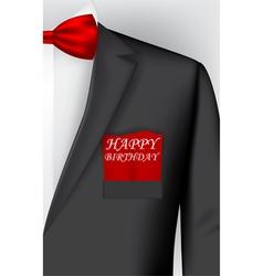 Birthday card with tuxedo costume vector image