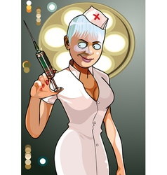 cartoon medical anesthesiologist with syringe vector image