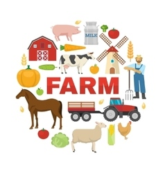 Farm Round Design vector image