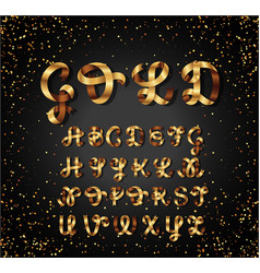 gold and glossy shining font golden ribbon vector image