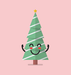 happy christmas tree character vector image
