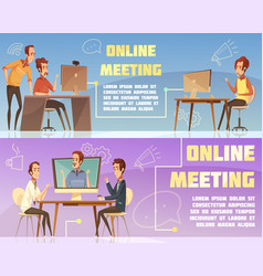 Online meeting banners set vector