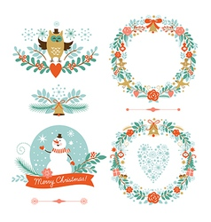 Set of Christmas wreaths frames holiday symbols vector image vector image