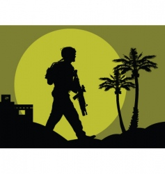 soldiers in the desert vector image