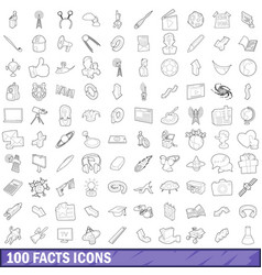100 fact icons set outline style vector image