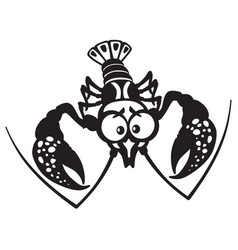 cartoon crayfish black white vector image vector image