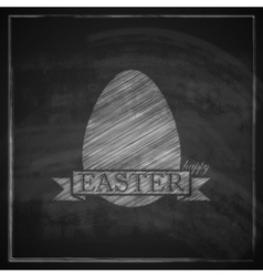 chalk easter with egg and ribbon on blackboard vector image vector image