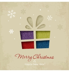 Christmas gift on a snowy background vector image