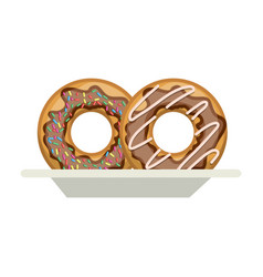 donuts with chocolate glaze on dish in colorful vector image