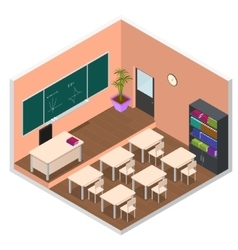 Interior Classroom with Furniture Isometric View vector image